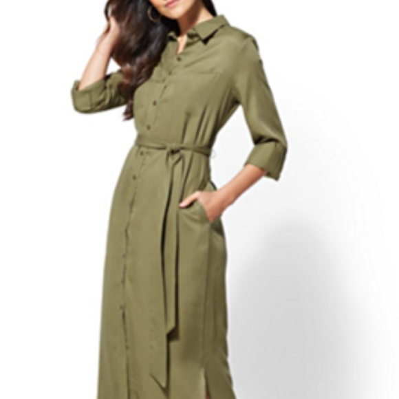 53f4edc6bfd Olive Belted Midi Shirtdress